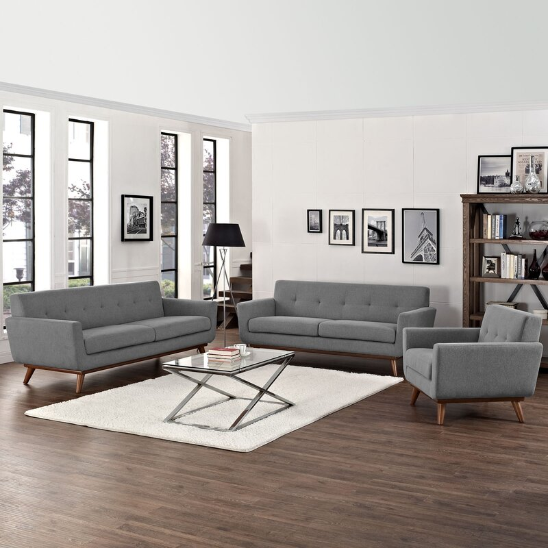 Saginaw 3 piece living room set reviews allmodern for Living room sets under 800