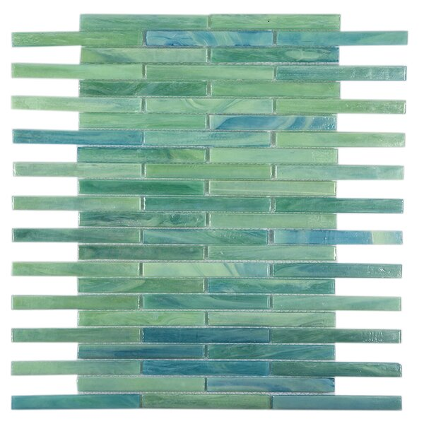 Brick 0.5 x 4 Glass Mosaic Tile in Green/Blue by Byzantin Mosaic