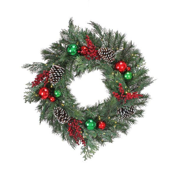28 Lighted PVC Wreath by The Holiday Aisle