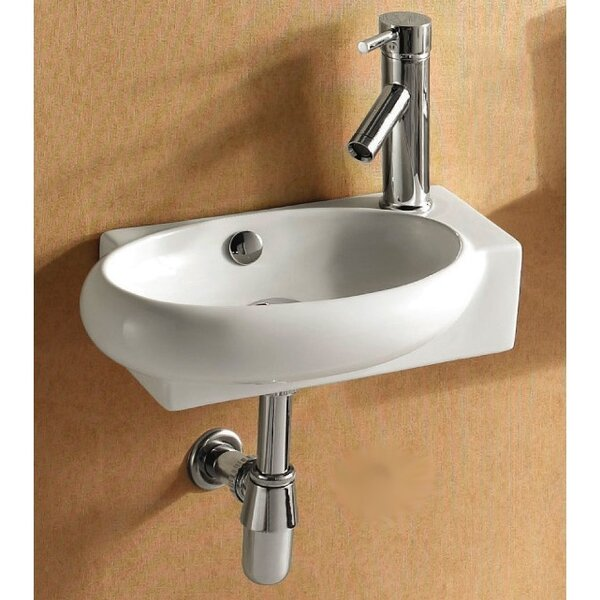 Ceramic 18 Wall Mount Bathroom Sink with Overflow by Caracalla