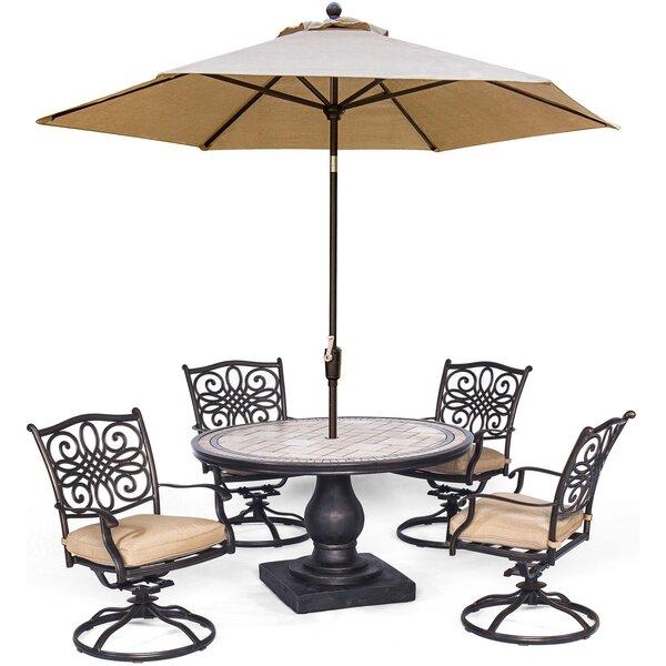 Bucci 5 Piece Dining Set with Umbrella by Fleur De Lis Living Fleur De Lis Living