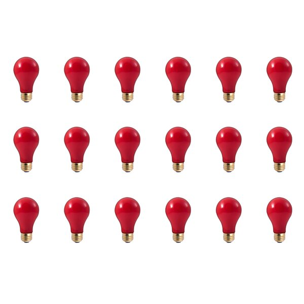 25W E26 Dimmable Incandescent Light Bulb Red (Set of 18) by Bulbrite Industries