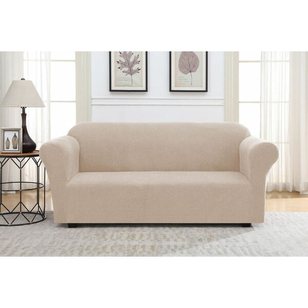 Solid Striae Box Cushion Sofa Slipcover By Winston Porter