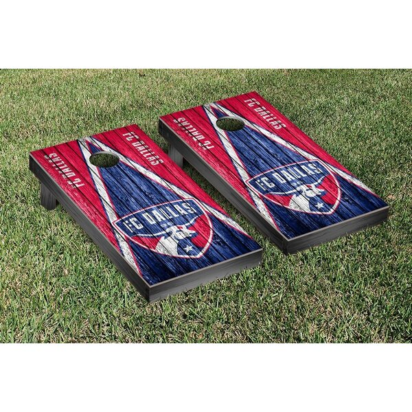 MLS FC Dallas FCDSC Soccer Triangle Weathered Version Cornhole Game Set by Victory Tailgate