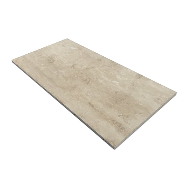 Vein Cut 24 x 12 Travertine Field Tile in Ivory Honed by Parvatile