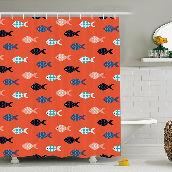 Fishes Motif Marine Sea Underwater Creature  Aquarium Ornate Forms Shower Curtain Set by Ambesonne