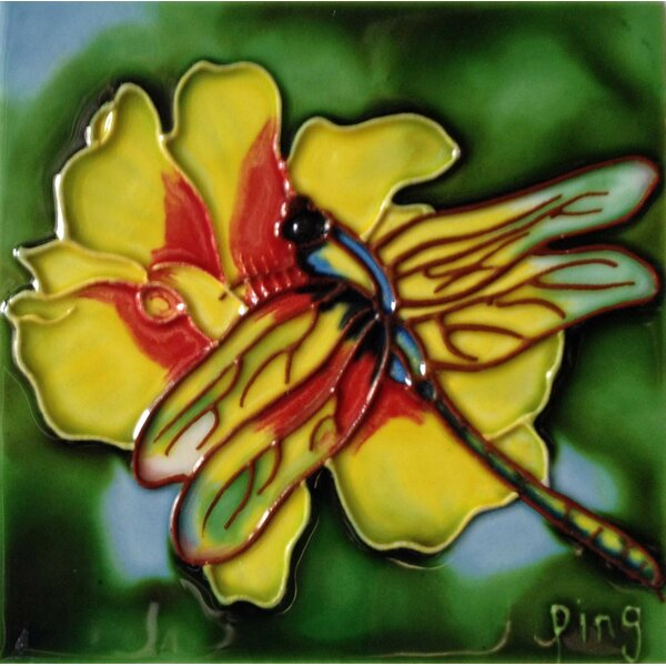 Dragonfly with Yellow Flower Tile Wall Decor by Continental Art Center
