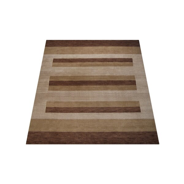 Ry Hand-Knotted Wool Brown/Light Beige Area Rug by Latitude Run