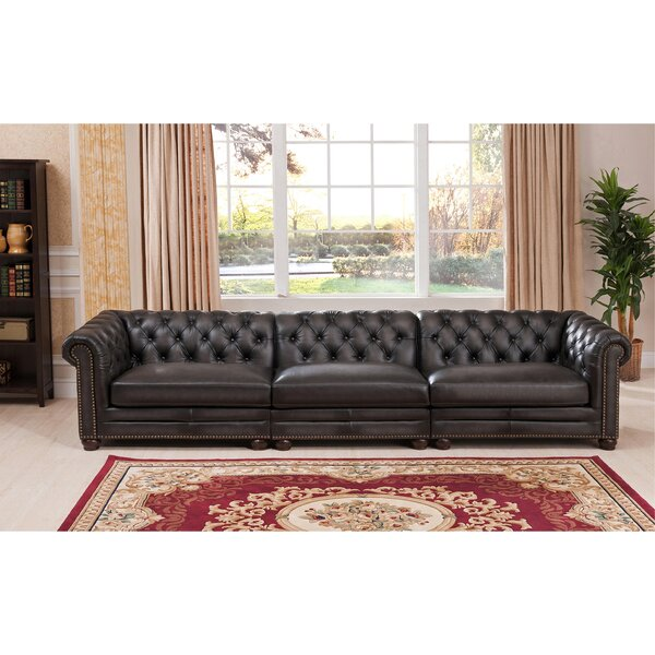Altura Leather Chesterfield Sofa by Darby Home Co