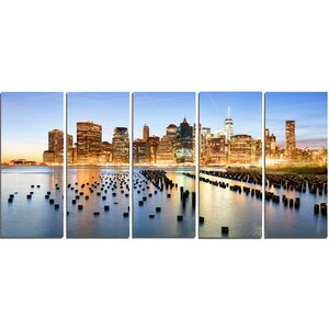 New York Skyline with Skyscrapers 5 Piece Wall Art on Wrapped Canvas Set by Design Art