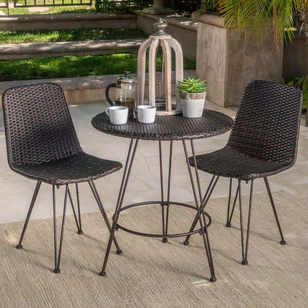 Prewitt Outdoor Wicker 3 Piece Bistro Set by Wrought Studio