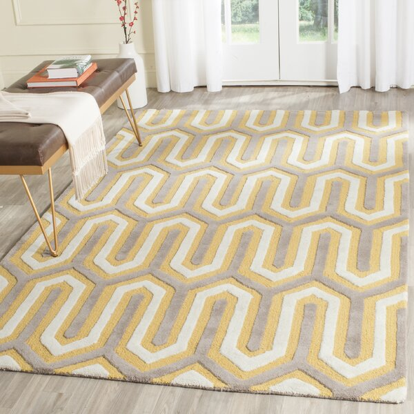 Martins Hand-Tufted Gold/Gray Area Rug by Wrought Studio