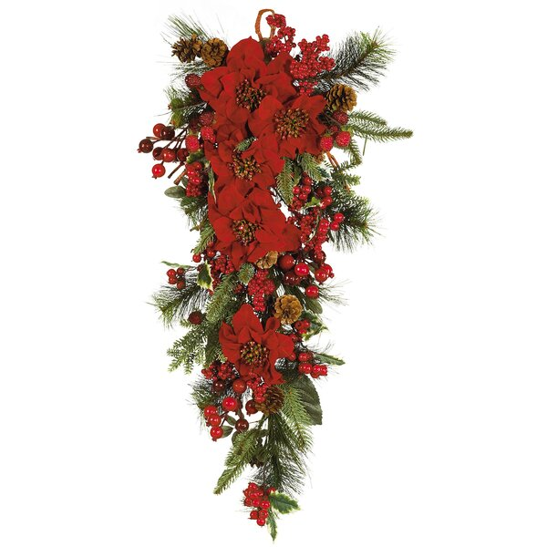 Poinsettia Teardrop Silk Plant Swag by Nearly Natural