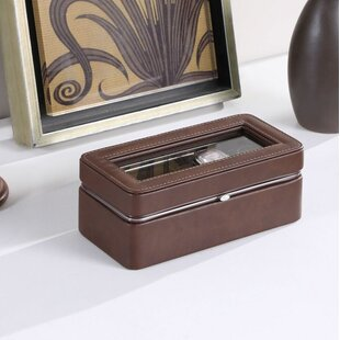 Great choice 3.5 H x 8 W x 4 D Leather Lining Tempered Glass 4 Watch Box By Charlton Home