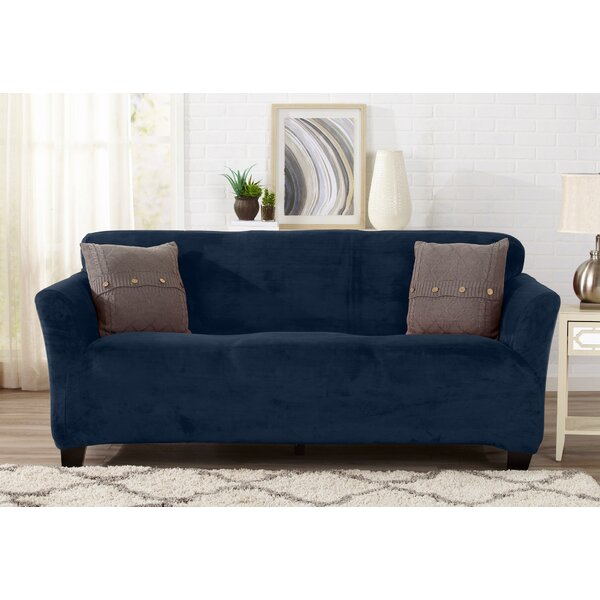 Velvet Plush Form Fit T-Cushion Sofa Slipcover by
