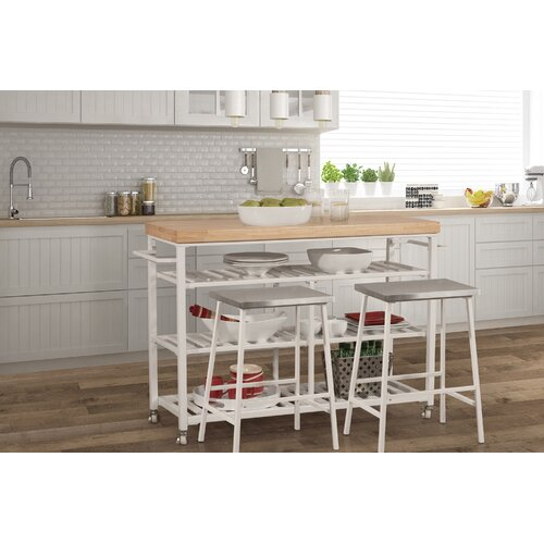 August Grove Droitwich Kitchen Island Set With Solid Wood Top