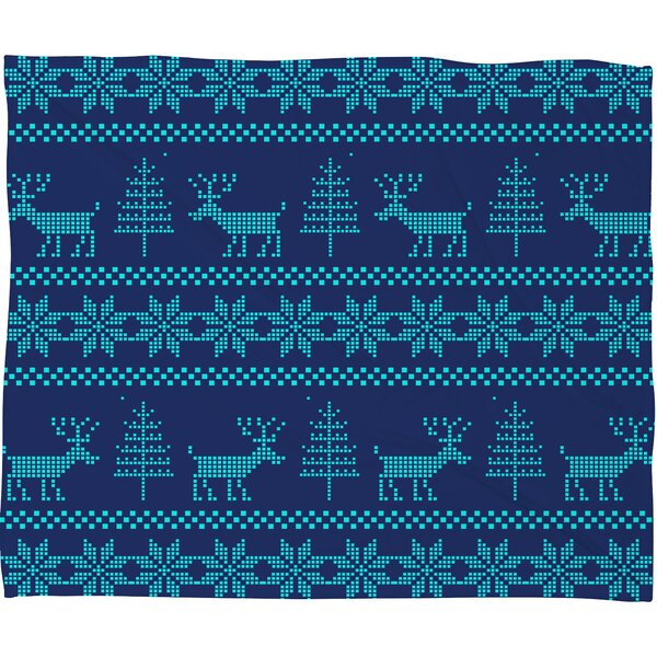 Knitting Deer Fleece Polyester Throw Blanket by East Urban Home