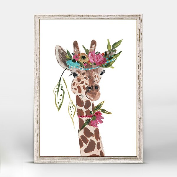 Casey Boho Giraffe Mini Framed Canvas Art by Bungalow Rose