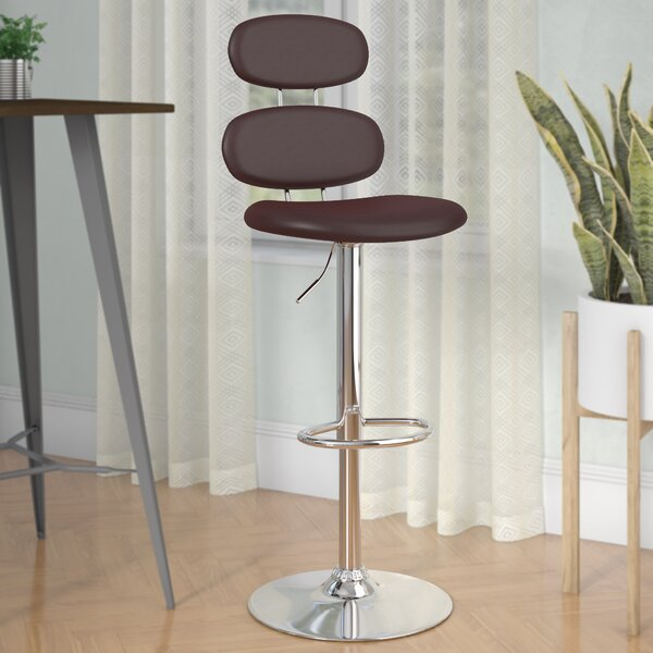 Norberg Adjustable Height Swivel Bar Stool by Orren Ellis