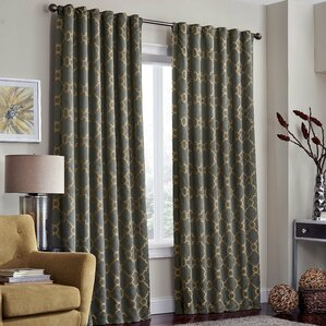 ginther geometric max blackout thermal rod pocket single curtain panel