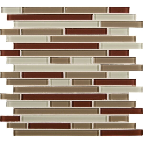 Sedona Interlocking Random Sized Glass Mosaic Tile in Beige and Brown by MSI