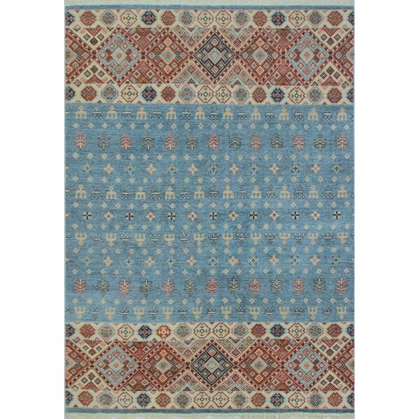 One-of-a-Kind Trevor Assad Hand-Knotted Wool Blue Area Rug by Bloomsbury Market