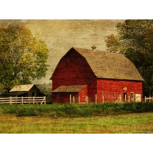 Florals 'Red Barn' Photographic Print on Wrapped Canvas by Graffitee Studios
