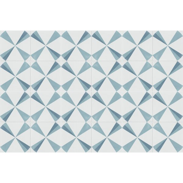 Polaris Azul 8 x 8 Cement Field Tile in Blue/White by Villa Lagoon Tile