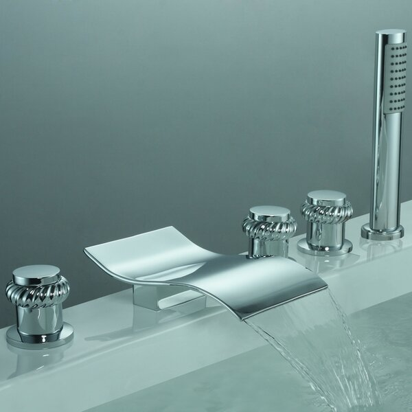 Triple Handle Deck Mount Watefall Tub Faucet with Handshower by Sumerain International Group