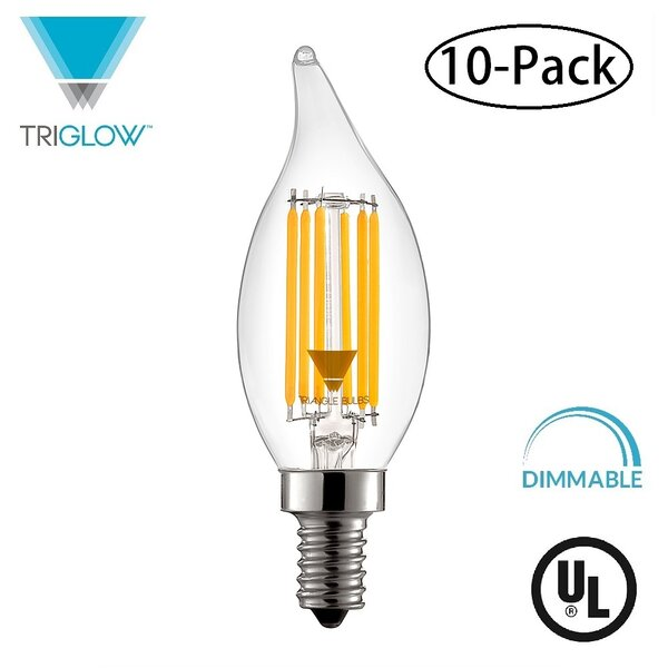 60W Equivalent E12 LED Candle Light Bulb (Set of 10) by TriGlow