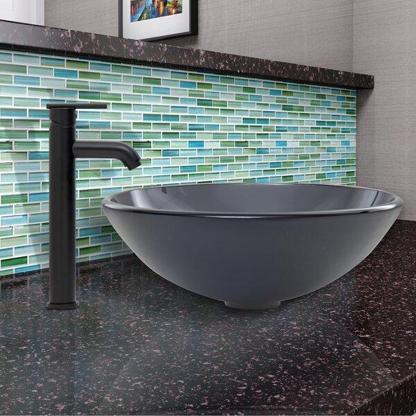 Sheer Glass Circular Vessel Bathroom Sink with Faucet by VIGO