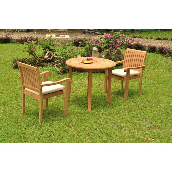 Michelle Luxurious 3 Piece Teak Bistro Set by Rosecliff Heights