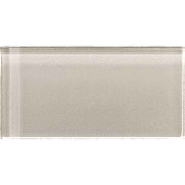 Lucente 3 x 6 Glass Subway Tile in Morning Fog by Emser Tile