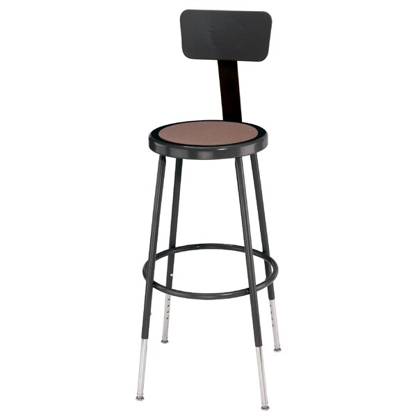 Height Adjustable Stool with Back and Round Hardbo