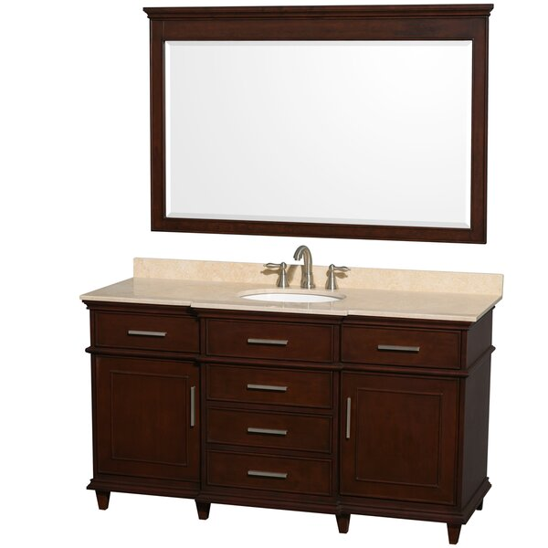 Berkeley 60 Single Dark Chestnut Bathroom Vanity Set with Mirror by Wyndham Collection
