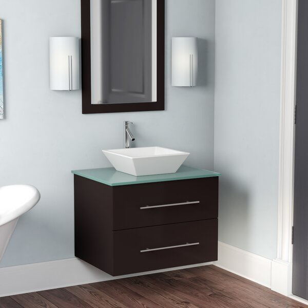 Decesare 30 Single Bathroom Vanity Set with Tempered Glass Top and Mirror by Mercury Row