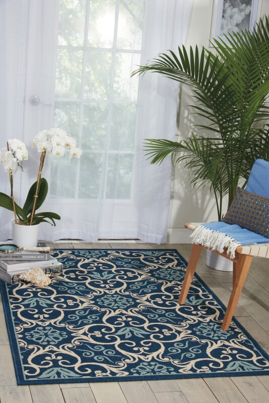 Alcott Hill Carleton Navy Indoor/Outdoor Area Rug & Reviews | Wayfair