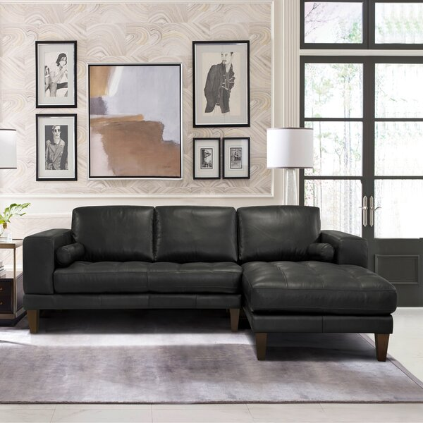 Randolph Contemporary Leather Sectional by Orren Ellis
