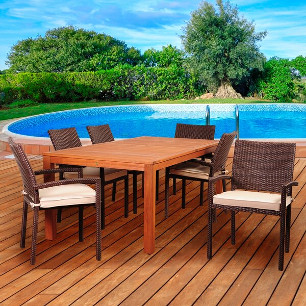 Arango 7 Piece Sunbrella Dining Set with Cushions by Beachcrest Home
