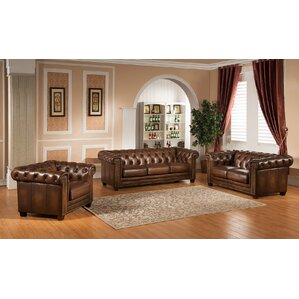 brown leather living room set. Hickory 3 Piece Leather Living Room Set Sets You ll Love  Wayfair