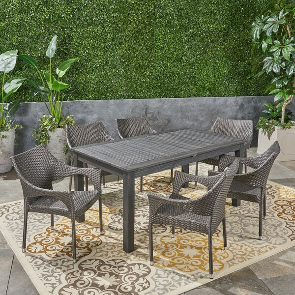 Bruton Outdoor Expandable 7 Piece Dining Set by Brayden Studio
