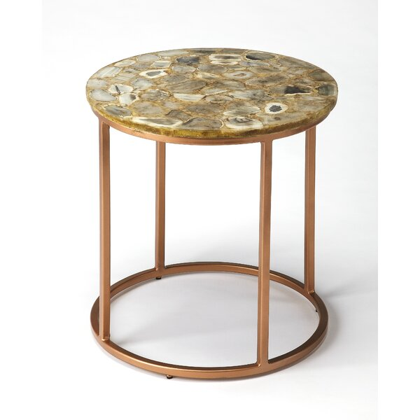 Aliya Agate End Table by Everly Quinn