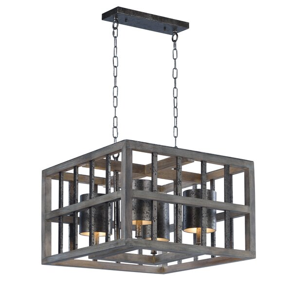 Louisa 4-Light Shaded Rectangle / Square Chandelier By 17 Stories