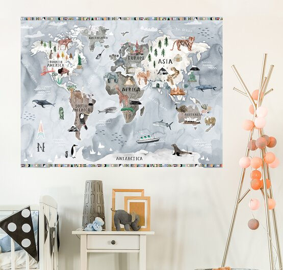 Customizable Watercolor Map Wall Decal by Oopsy Daisy