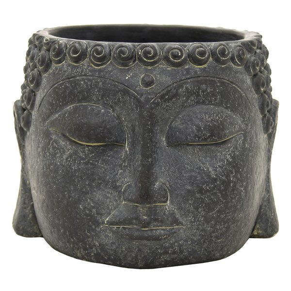 Tharp Buddha Face Terracotta Statue Planter by World Menagerie