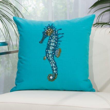 Alexandrina Beaded Seahorse Indoor/Outdoor Throw Pillow by Highland Dunes