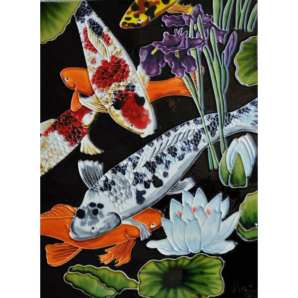 Vertical Koi Pond Tile Wall Decor by Continental Art Center