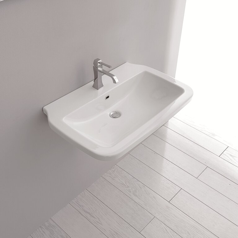Nova Ceramic Ceramic Rectangular Vessel Bathroom Sink with Overflow