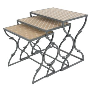 Cole & Grey Metal/Wood 3 Piece Nesting Tables