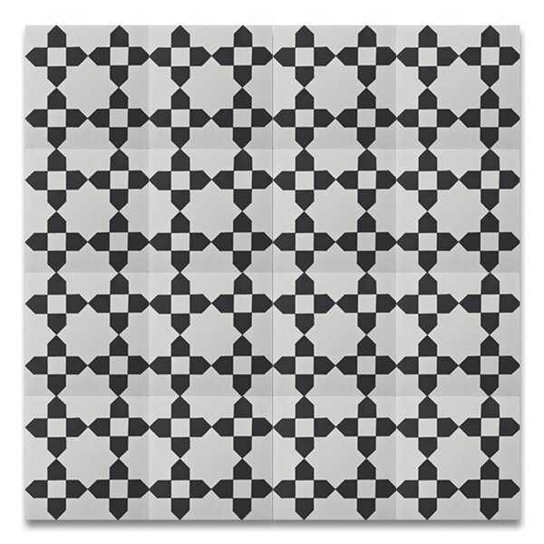Martile 8 x 8 Cement Tile in Black/White by Moroccan Mosaic
